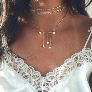 Boho Star Tassel Gold Chain Layered Necklace